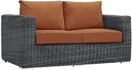 "Modway Summon Collection EEI-1865-GRY- 64"" Outdoor Patio Sunbrella Loveseat with Washable Fabric Cushions, Stainless Steel Legs and Powder Coated Aluminum Tube Frame in"