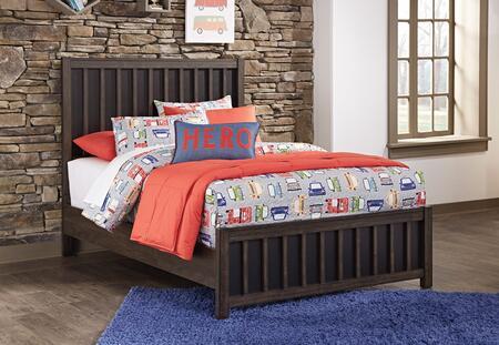 Signature Design by Ashley Brissley Collection B504-PANELBED Panel Bed with Clean Line Design, Block Feet and Closed-Back Vertical Slat Panels in Two-Tone