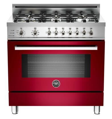 """Bertazzoni PRO366DFSVILP 36"""" Professional Series Dual Fuel Freestanding Range with Sealed Burner Cooktop, 4.0 cu. ft. Primary Oven Capacity, in Burgundy"""