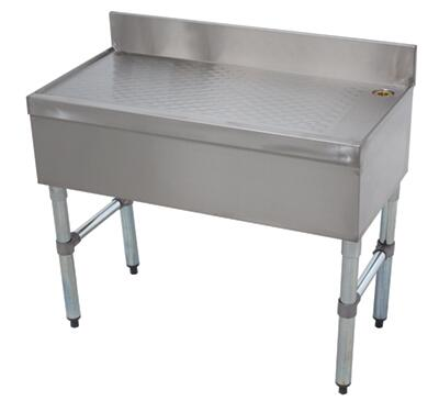 """Advance Tabco 12-X Freestanding Underbar Drainboard with 4"""" Backsplash, Adjustable Bullet Feet and Side Cross-Bracing in Stainless Steel"""