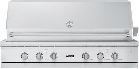 """Viking VGIQ554241 54"""" 5 Series Ultra-Premium Built-In Gas Grill with 3 Stainless Steel Burners, 1 TruSear Burner, Rotisserie, Thermometer, Smoker Box, and Drip Tray, in Stainless Steel"""