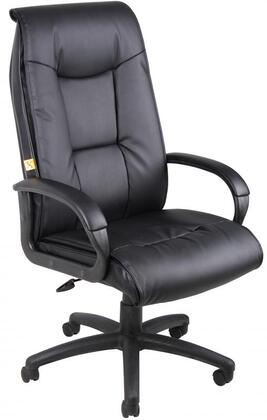 "Boss B760 45"" Executive Leather Plus Chair with Padded Armrests, Pillow Top Design, Adjustable Tilt Tension Control, Pneumatic Gas Lift Seat Height Adjustment, and 27"" Nylon Base, Upholstered in Black LeatherPlus"
