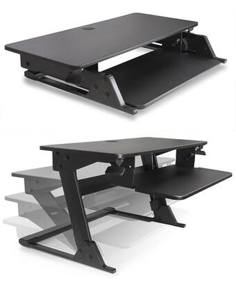 Systematix Volante Collection VOLANTE-X Desktop Sit-Stand Workstation with Compact Footprint, Gas Assisted Height Adjustment, Extendable Workspace and 20 Degree Keyboard Surface Tilt in