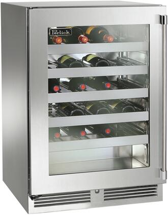 "Perlick HP24WS33x 24"" Signature Series Indoor Wine Cooler with 40 Bottle Capacity, 1000 BTU Variable Compressor, RapidCool Refrigeration System and Stainless Steel Interior, in Glass Door with Stainless Steel and"