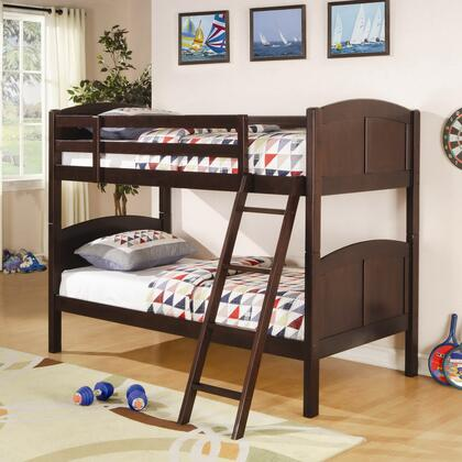 Coaster Parker Collection Bunk Bed with Guard Rails, Ladder, Panel Styling and Solid Pine Wood Construction in Chestnut Finish