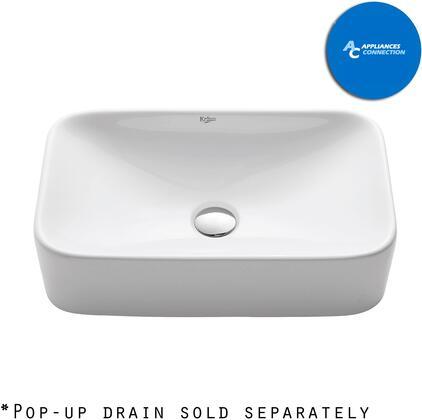 Kraus CKCV12215500 White Ceramic Series Sink and Faucet Bundle with Rectangular Ceramic Vessel Sink and Virtus Faucet