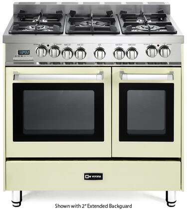 """Verona VEFSGE365ND 36"""" Double Oven Dual Fuel Range with 5 Sealed Gas Burners, 2.4 cu. ft. Oven Capacity, Quiet Hinge, Storage Drawer, Electronic Ignition, Digital Clock and Timer, In"""