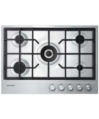 """Fisher Paykel CG305D 30"""" Gas Cooktop with 5 Burners, 1/2 Gallon Spill Containment, Electronic Ignition, Cast Iron Trivets and Easy Clean Design in Stainless Steel:"""