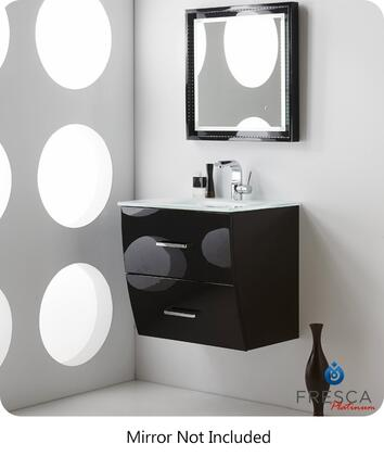 "Fresca Platinum Wave FPVN76XXBL XX"" Modern Bathroom Vanity with 2 Soft Closing Drawers, Chrome Plated Handle and Integrated Clear Tempered Glass Countertop and Sink in Glossy Black"