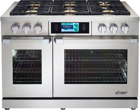 "Dacor DYRP48DSLPH 48"" Discovery Series Slide-in Gas Range with Sealed Burner Cooktop, 5.2 cu. ft. Primary Oven Capacity, in Stainless Steel"