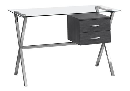 """Monarch I721DESK 48"""" Computer Desk with Tempered Glass Top, Chrome Metal Legs and 2 Drawers in"""