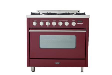 Verona VEFSGEL65RLP Pro Series Gas Freestanding Range with Sealed Burner Cooktop, 3.6 cu. ft. Primary Oven Capacity, in Red