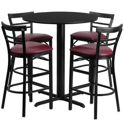 "Flash Furniture HDBF5ROU-GG 24"" Round Laminate Table Set with 4 Ladder Back Metal Bar Stools and Burgundy Vinyl Seat, Commercial Design, and Heavy Duty Construction"