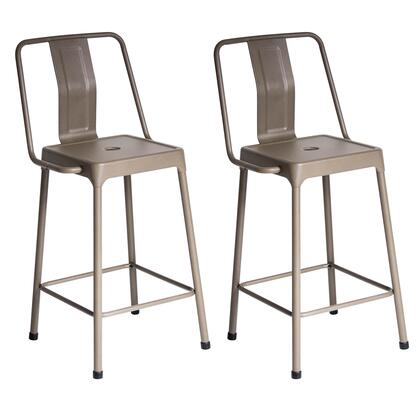 "LumiSource Energy CS-CF-ENRG Set of (2) 37"" Counter Stools with Metal Construction, High Backrest and Stretcher in"