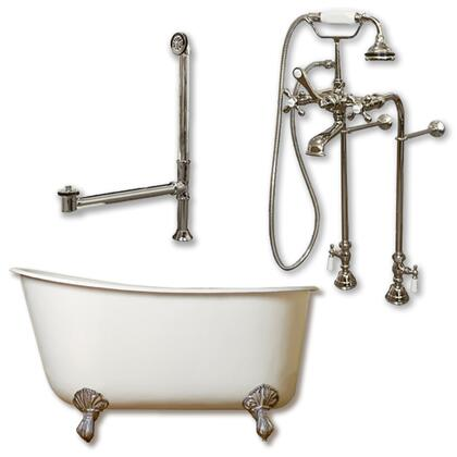 "Cambridge SWED58398463PKG Cast Iron Swedish Slipper Tub 58"" x 30"" with No Faucet Drillings and Complete Plumbing Package"
