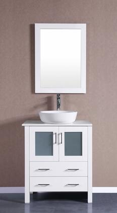 Bosconi Bosconi AW130BWLPSX Single Vanity with Soft Closing Doors , Drawers,Phoenix Stone Top, Faucet, Mirror in White and White Vessel Oval Ceramic Sink