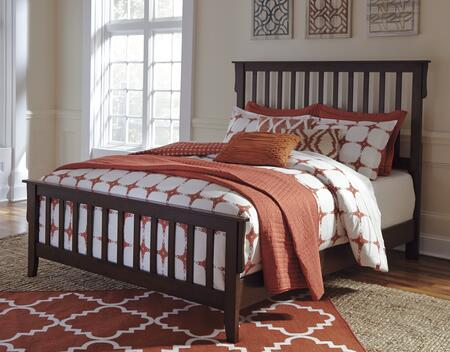 Signature Design by Ashley Strenton B568 Size Panel Bed with Open Slat Design, Decorative Corbels, Thick Post, Oak Veneers and Selected Hardwood Solids Construction in Brown Finish