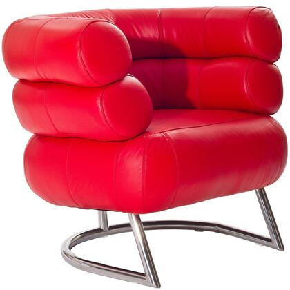 Modway EEI627RED Michelin Series Leather Lounge with Metal Frame in Red