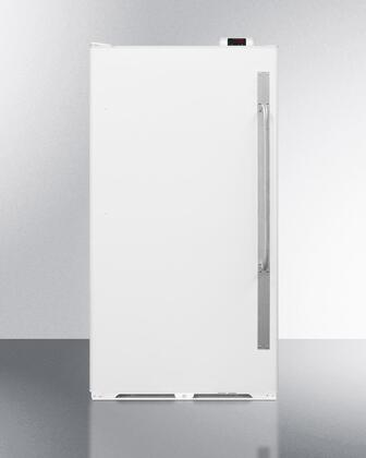 "Summit SCUR18N 34"" Commercially Approved Full Size Refrigerator with 16..7 cu. ft. Capacity, X Hinge, Interior Light, Frost Free and Door Lock, in White"