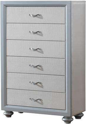 """Glory Furniture 36"""" Chest with 6 Drawers, Metal Hardware, Painted Wood Feet and Textured Finish"""