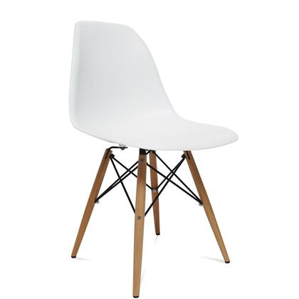 Fine Mod Imports FMI2012WHITE WoodLeg Series Modern Not uphostered ABS and Solid Hardwood Frame Dining Room Chair