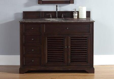"James Martin Savannah 2381045231G 48"" Single Vanity with 1 Shelf, 2 Doors, 3 Drawers, 1 Sink Included, Antique Iron Hardware, Granite Top and Solid Kiln-Dried Grade A Hardwood in Sable Color"