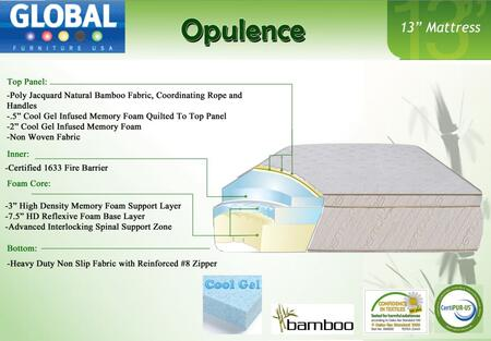 "Global Furniture USA B1355MF Opulance 13"" High x Size Mattress with Cool Gel Infused Memory Foam"