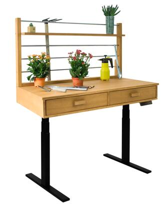 "Vifah 55"" - 82"" Sit to Stand Potting Bench with 2 Drawers, 1 Top Shelf, Adjustable Height, Powder Coating Steel Frame and Acacia Hardwood Top in Sand-Splashed Finish"