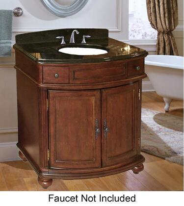 "Kaco Arlington Collection 5300-3600-1005 36"" Vanity with 2 Doors, Bun Feet and Decorative Moldings in Distressed Cherry Finish with X Top"