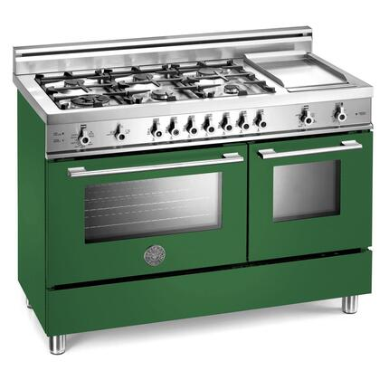 Bertazzoni X486GGGVVE Professional Series Natural Gas Freestanding Range with Sealed Burner Cooktop, 2.9 cu. ft. Primary Oven Capacity, Storage in Green