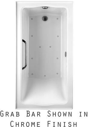 Toto ABR782L01YBNX Clayton Series Drop-In Airbath Tub with Acryclic Construction, Slip-Resistant Surface, and Brushed Nickel Grab Bar, White Finish