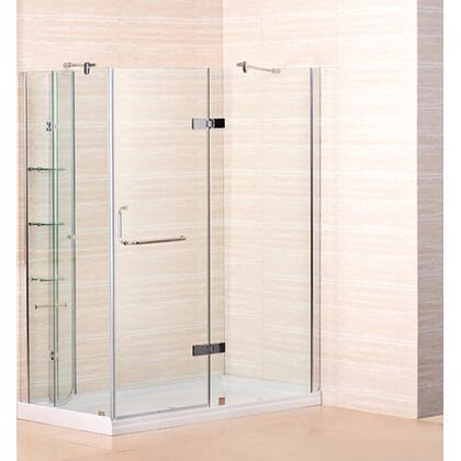 """Aston Global SD972-8- 60"""" x 32"""" Frameless Shower Enclosure with Shower Base including Shelving Feature in Chrome Finish - X Hand Drain"""