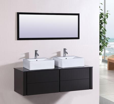 "Legion Furniture WT9012 60"" Sink Vanity and Mirror with Tempered Glass Top and 2 Single Pre-Drill Faucet Hole in"