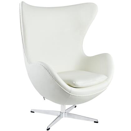 Modway EEI528WHI Lounge Leather Fiberglass Frame Accent Chair