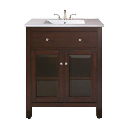 Avanity Lexington LEXINGTON-VSXX-LE Vanity Set with Vitreous China Top, Brushed Nickel Finished Hardware, X Doors, X Drawers, and Adjustable Leg Levelers in Light Espresso Finish