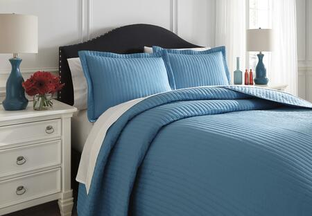 Milo Italia Janean Collection C1810TMP 3 PC Size Coverlet Set includes 1 Coverlet and 2 Shams with Solid Pattern and Polyester Material in Turquoise Color