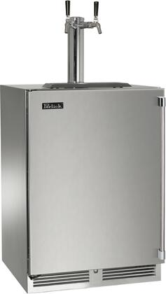 """Perlick HP24TS31x2 24"""" Indoor Beer Dispenser with Dual Faucet, Rapidcool Forced Air Refrigeration System, Stainless Steel Interior and 995 BTU Variable-Speed Compressor, in Stainless Steel with"""