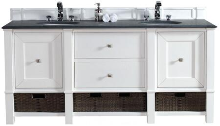"""James Martin Madison Collection 800-V60D-CWH- 60"""" Cottage White Double Vanity with Two Soft Close Doors, Two Drawers, Bottom Shelf, Satin Nickel Hardware and"""