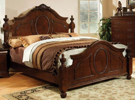 Furniture of America Velda II CM7952X Bed with Luxurious Baroque Style, Ornamental Headboard and Footboard, Solid Wood and Wood Veneer in Brown Cherry Finish