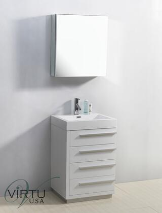 "Virtu USA Bailey JS50524 24"" Single Sink Bathroom Vanity with White Polymarble Top, 4 Drawers, PS-103 Faucet, 1.2"" Faucet Hole, Satin Nickel Hardware, and Mirror Included in"