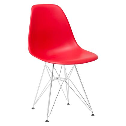 """EdgeMod Padget Collection 21.5"""" Side Chair with Chrome Wire Base, Non-Marking Feet, Matte Plastic Seat and Polypropylene Plastic in"""