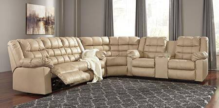 Milo Italia Araceli MI-2637TMP Sectional Sofa with Reclining Sofa, Wedge and Double Reclining Loveseat with Console in