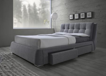 Coaster Fenbrook Collection Upholstered Bed with Storage Drawers, Pillow Top Headboard, Biscuit Tufting, Chrome Legs and Fabric Upholstery in Grey Color