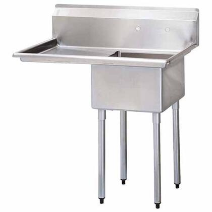 "Turbo Air TSA-1-12- Drain Board 45""W One Compartment Sink with Swirl Away Bowl Drainage and Adjustable ABS Bullet Feet in Stainless Steel"