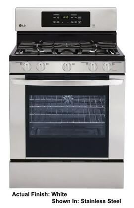 "LG LRG3081SW 30"" Gas Freestanding Range with Sealed Burner Cooktop, 5.4 cu. ft. Primary Oven Capacity, Storage in White"