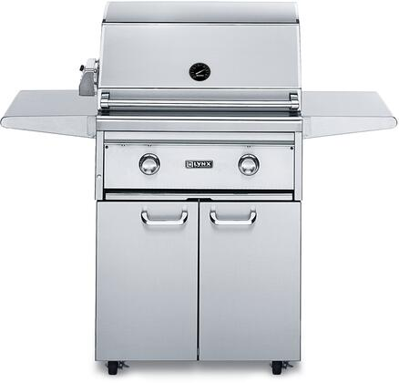 """Lynx L27PSFR-3 Professional Series 27"""" Grill On Cart With 1 Brass Burner, 1 ProSear2 Burner and Rotisserie, 685 Sq. In. Cooking Surface and Hot Surface Ignition System, in Stainless Steel:"""