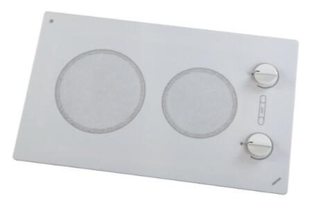 """Kenyon B495x 14"""" Alpine Series 120 Volt Electric Cooktop with 2 Burner (6.5"""" and 8"""" Size), Heat-Limiting Surface and Push-to-Turn Knob Control, in White"""