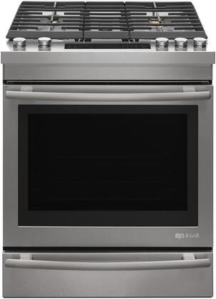 """Jenn-Air JDS1450FT 30"""" Slide-In Dual Fuel Range with DuraFinish Protectopn, 19000 BTU Dual Stacked PowerBurner, True Convection, Brass Burner, and AquaLift Self-Cleaning Technology, in Stainless Steel"""
