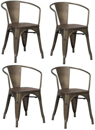 EdgeMod EM113ELMBRZX4 Trattoria Series Modern Metal Frame Dining Room Chair