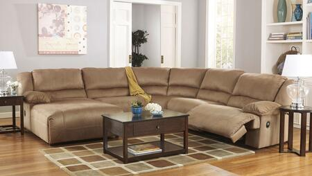 Milo Italia Kaitlyn MI-2570BTMP 5-Piece Sectional Sofa with X Arm Press Back Chaise, Armless Chair, Wedge, Armless Zero Wall Recliner and X Arm Zero Wall Recliner in Mocha